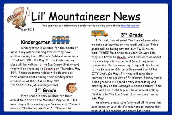 May Lil' Mountaineer Newsletter...click to read more.