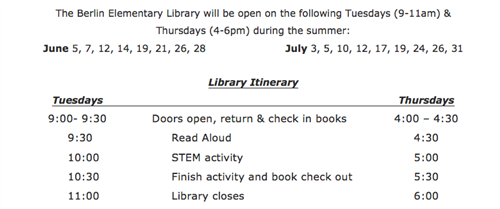 Summer Library Schedule